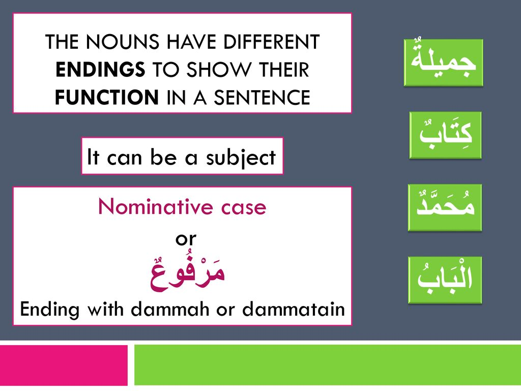 the Nouns have different endings to show their function in a sentence