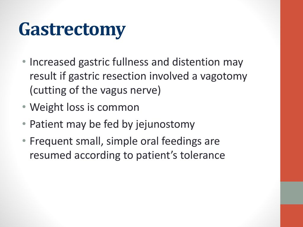 Gastrectomy Increased gastric fullness and distention may result if gastric resection involved a vagotomy (cutting of the vagus nerve)