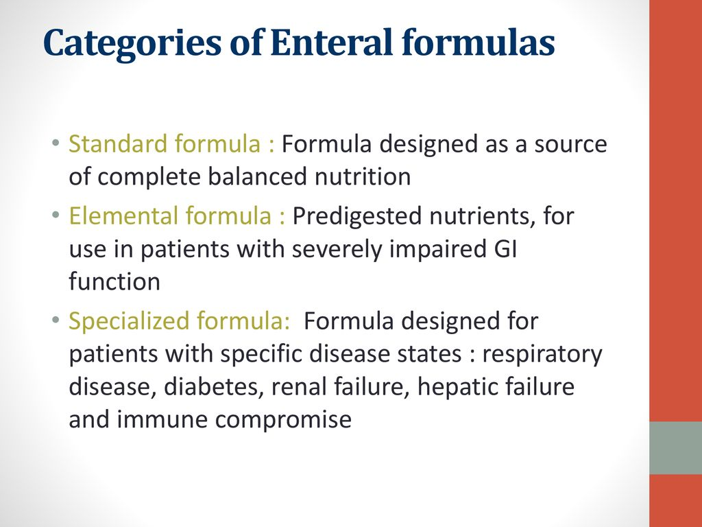 Categories of Enteral formulas