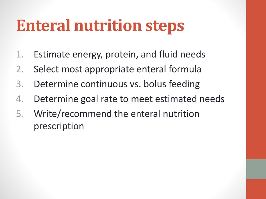 Enteral nutrition steps